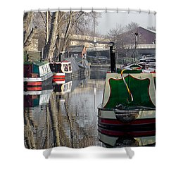 Boats At Horninglow Basin Shower Curtain by Rod Johnson