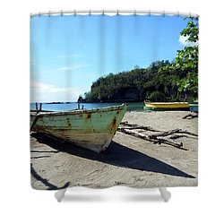 Shower Curtain featuring the photograph Boats At La Soufriere, St. Lucia by Kurt Van Wagner