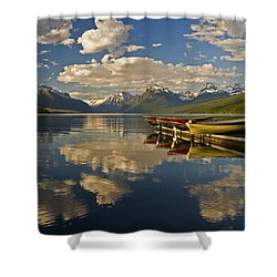 Shower Curtain featuring the photograph Boats At Lake Mcdonald by Gary Lengyel