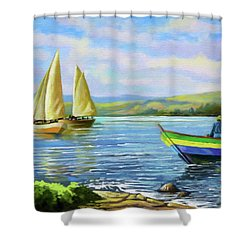 Shower Curtain featuring the painting Boats At Lake Victoria by Anthony Mwangi