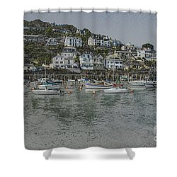Shower Curtain featuring the photograph Boats At Looe by Brian Roscorla
