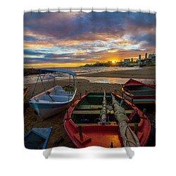 Boats At Sunset, Bahia, Brazil Shower Curtain