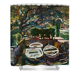 Boats At The Pier. Sold Shower Curtain
