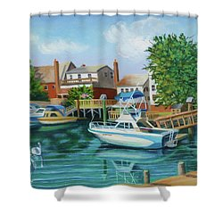 Boats Behind Cross Bay Blvd. Shower Curtain