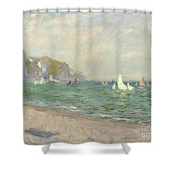Boats Below The Cliffs At Pourville Shower Curtain