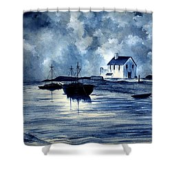 Boats In Blue Shower Curtain by Michael Vigliotti