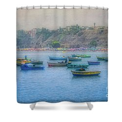 Shower Curtain featuring the photograph Boats In Blue Twilight - Lima, Peru by Mary Machare