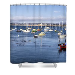 Boats In Monterey Bay Shower Curtain by Joseph S Giacalone