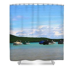 Boats In Sleeping Bear Bay Wood Texture Shower Curtain by Dan Sproul