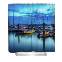 Boats In The Bay Shower Curtain