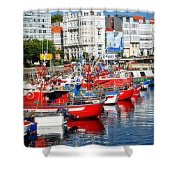 Boats In The Harbor - La Coruna Shower Curtain by Mary Machare