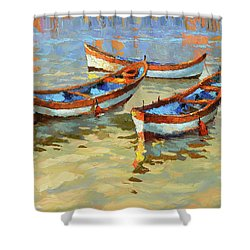 Boats In The Sunset Shower Curtain by Dmitry Spiros