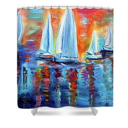 Boats In The Sunset Shower Curtain