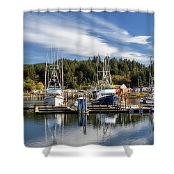 Shower Curtain featuring the photograph Boats In Winchester Bay by James Eddy