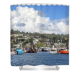 Shower Curtain featuring the photograph Boats In Yaquina Bay by James Eddy