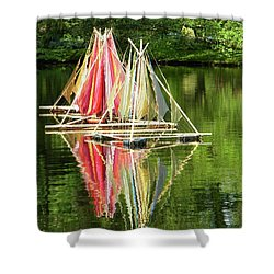 Shower Curtain featuring the photograph Boats Landscape by Manuela Constantin
