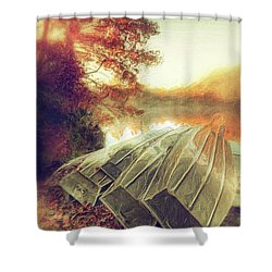 Boats On Price Lake During Autumn Sunrise Ap Shower Curtain