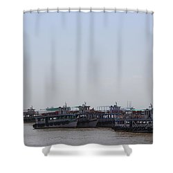 Boats On The Indian Ocean In The Haze Shower Curtain by Jennifer Mazzucco
