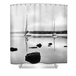 Boats On Ullswater In The Lake District Shower Curtain