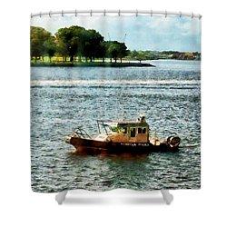 Boats - Police Boat Norfolk Va Shower Curtain by Susan Savad