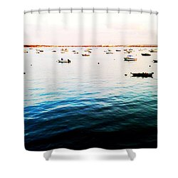 Boats At Dusk Shower Curtain
