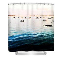 Boats At Dusk Shower Curtain