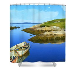 Boats Waiting In Calm Waters Shower Curtain by Ken Morris