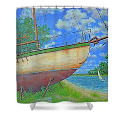 Boatyard On Shem Creek Shower Curtain by Dwain Ray