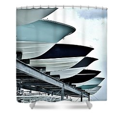 Boatyard, Tiki 52 Shower Curtain by John Wartman