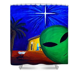 Shower Curtain featuring the painting Bob At The Manger by Lola Connelly