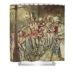 Bob Cratchit Went Down A Slide On Cornhill Shower Curtain by Arthur Rackham