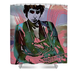 Bob Dylan Modern Etching Art Poster Shower Curtain by Kim Wang