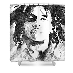 Bob Marley Bw Portrait Shower Curtain
