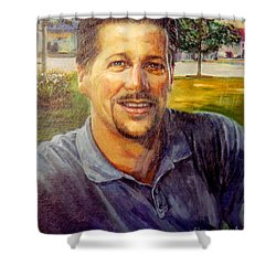 Shower Curtain featuring the painting Bobby by Stan Esson