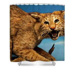 Shower Curtain featuring the digital art Bobcat On A Branch by Chris Flees