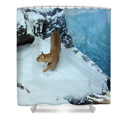 Shower Curtain featuring the digital art Bobcat On A Mountain Ledge by Chris Flees