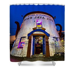 Shower Curtain featuring the photograph Bob's Java Jive - Historic Landmark During Blue Hour by Rob Green