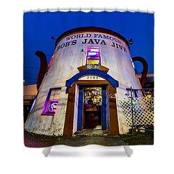 Bob's Java Jive - Historic Landmark During Blue Hour Shower Curtain by Rob Green