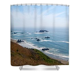 Shower Curtain featuring the photograph Bodega Bay Arched Rock by Debra Thompson