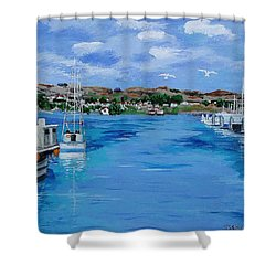 Bodega Bay From Spud Point Marina Shower Curtain