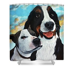 Bodhi And Lily  Pet Portrait Shower Curtain