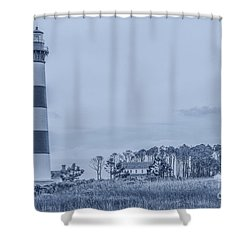 Bodie Island Lighthouse In Blue Shower Curtain by Randy Steele