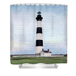 Bodie Island Lighthouse Mural Art Shower Curtain by Marion Johnson