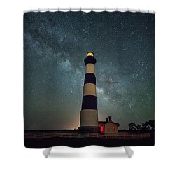Bodie Lighthouse And Milky Way Shower Curtain
