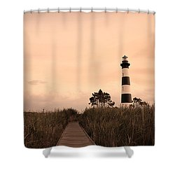 Bodie Lighthouse Sunset Shower Curtain