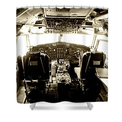 Shower Curtain featuring the photograph Boeing 747 Cockpit 21 by Micah May