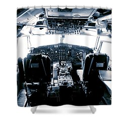 Shower Curtain featuring the photograph Boeing 747 Cockpit 22 by Micah May