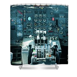 Shower Curtain featuring the photograph Boeing 747 Cockpit 23 by Micah May