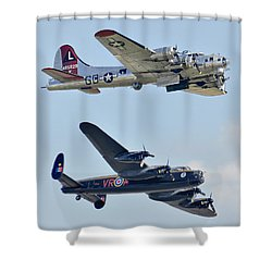 Boeing B-17g Flying Fortress And Avro Lancaster Shower Curtain