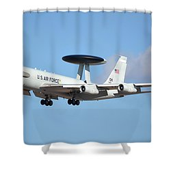Boeing E-3b 71-1407 Sentry Phoenix Sky Harbor January 9 2015 Shower Curtain by Brian Lockett